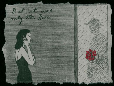 Audrey Niffenegger, But it was only Mr. Rain, print from artist's book Spring, 1993; Courtesy of the artist