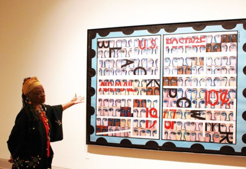 "At NMWA, Faith Ringgold discusses her work, including American People Series #19: U.S. Postage Stamp Commemorating the Advent of Black Power, 1967; This work subtly incorporates the words ""Black Power"" and ""White Power""; (c) Faith Ringgold, Courtesy of the artist and ACA Galleries, New York"