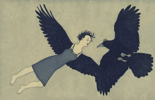 And They Lived Happily Together Ever After, aquatint from artist's book Raven Girl, 2012; Courtesy of the artist