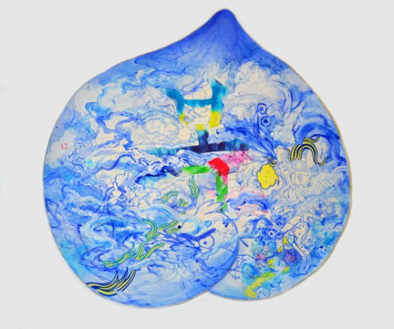Jiha Moon, Peach Mask I, 2013; Ink and acrylic on Hanji paper, 38 x 38 1/2 in.; Courtesy of the artist