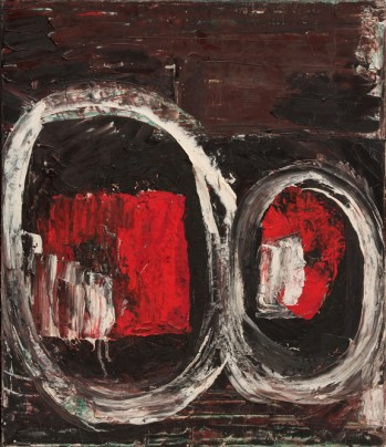Louise Fishman, Two Hearts, 1981; Oil on linen, 22 in. x 19 in.; NMWA, Gift of Patsy Rogers and Lucille F. Goodman