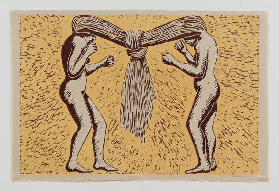 Alison Saar, Tango, 2005; Woodcut on paper, 25 3/4 x 38 3/4 in.' Courtesy of the artist and L.A. Louver; © Alison Saar