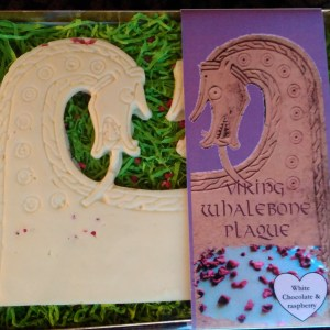 Viking Whalebone Plaque from Scar in Sanday, made in white chocolate and raspberry.