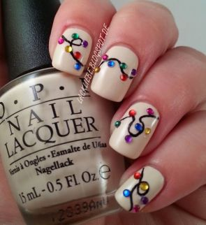 Holiday Nail Art - Colorful Lights with Crystals