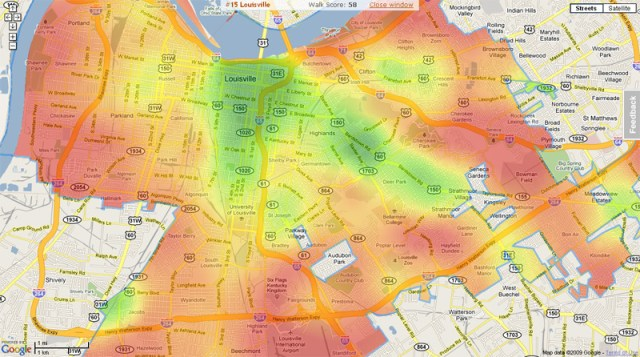 Walkability index in Louisville (via Walkscore)