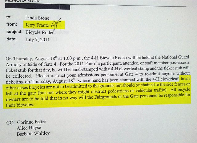 Leaked internal memo fron the KY State Fair bans bikes. (Via Twitter)