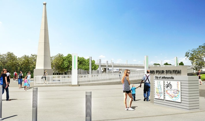 An obelisk forms the center of Big Four Station. (Courtesy The Estopinal Group)