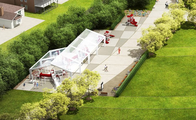 Tensile fabric covers a playground at Big Four Station. (Courtesy The Estopinal Group)