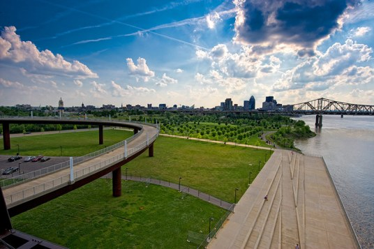 Waterfront and Louisville skyline from Big Four Bridge. (Bill Griffin/Courtesy Waterfront Development Corporation)