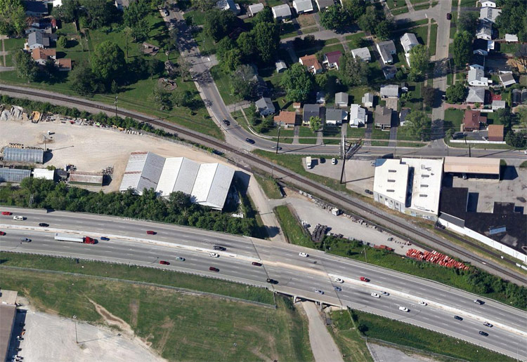Aerial view of the Bradley Street entrance. (Courtesy Google)