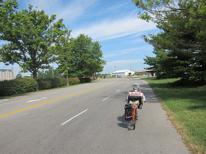 Riding in through Gate 4 with Lot H on the left. (Courtesy Bicycling for Louisville)