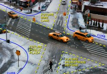 The snow reveals how our streets give car drivers more space than they need—and inspires visions of how you could better use that space. (Doug Gordon / Courtesy Transportation Alternatives)