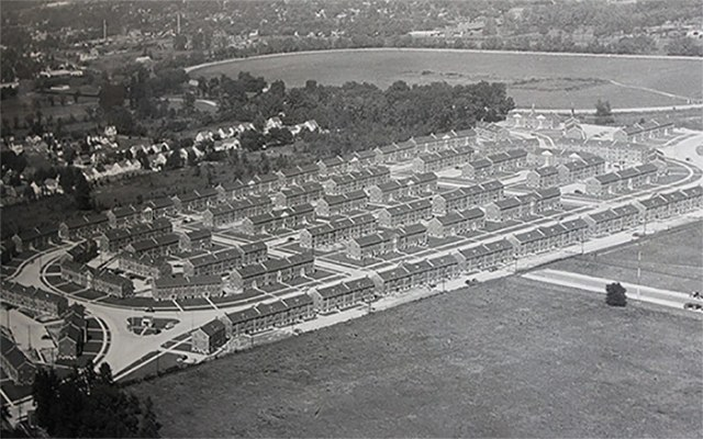 A historic aerial of today's Heritage Green site. (Courtesy Underhill Associates)