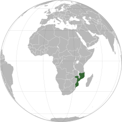 Mozambique on the African continent. Source: Wikipedia.