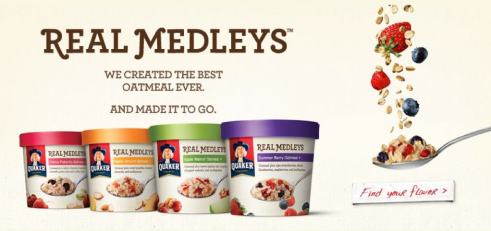 Quaker's line-up of Real Medleys: Apple Walnut, Summer Berry, Cherry Pistachio, and Peach Almond