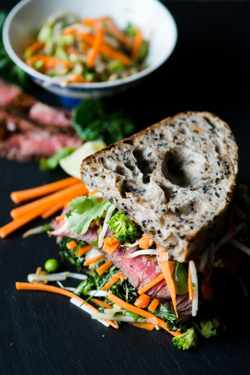 Asian Steak Sandwich | bsinthekitchen.com #steak #sandwich #bsinthekitchen
