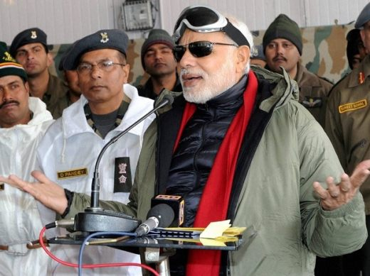File photo of Prime Minister Narendra Modi speaking to soldiers during his visit to the Siachen glacier (Image: PTI)