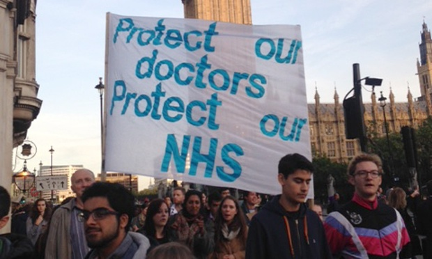 Junior doctors during an earlier protest in London. Photograph: Charlie Williams/doctors.org