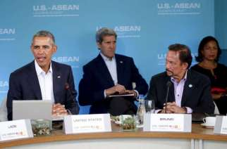 US President Barack Obama (left) making opening remarks at the Asean summit in Sunnylands, California, on Feb 15. With him is Sultan of Brunei Hassanal Bolkiah (right), US Secretary of State John Kerry (back, centre) and National Security Advisor Susan Rice (back, right).PHOTO: REUTERS