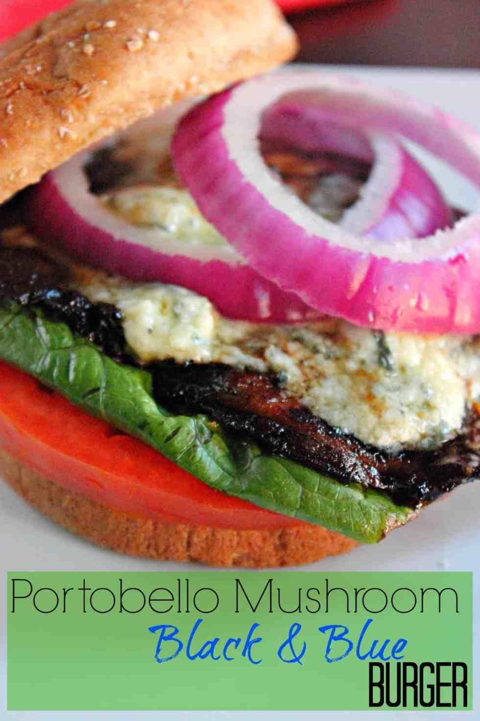 Portabella Mushroom Black and Blue Burger