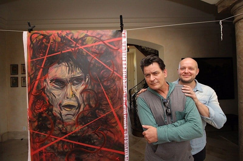 LT with Charlie Sheen & portrait