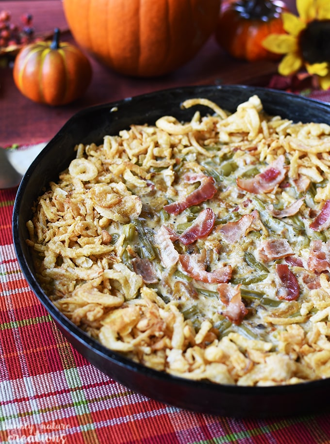 Green Bean Casserole Skillet w Caramelized Onions and Bacon!! This ...