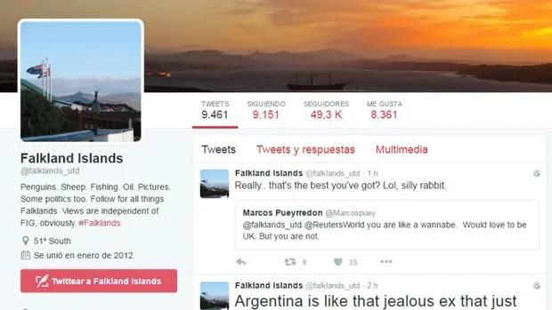 La cuenta de Twitter @falklands_utd