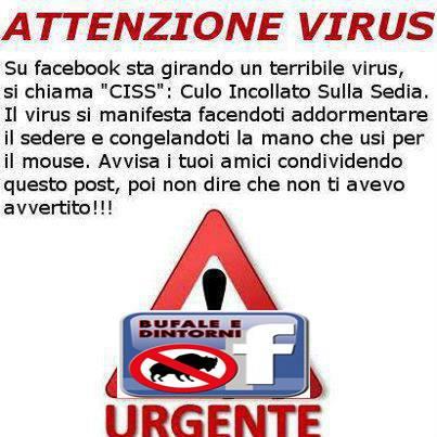 ATTENZIONE - Virus Facebook.