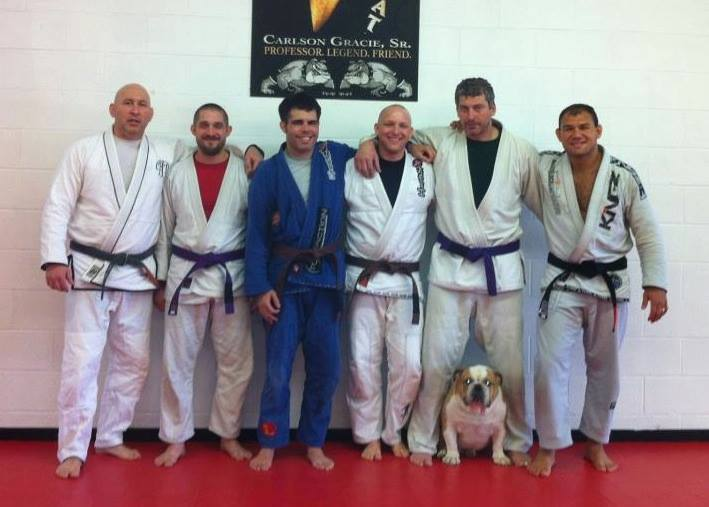 Ketry with Awo Òrúnmìlà Osá Kuleya, Keith Forant, Carlson Gracie, Larry Backlas, Richard Smehlik, Cappi the Bulldog and Roberto Abreu at Buffalo Brazilian Jiu-Jitsu Academy