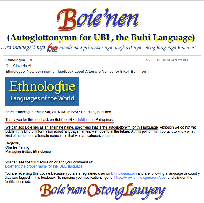 """Boie'nen"" is the Autoglottonym for the Buhi Language (Ethnologue code: UBL"