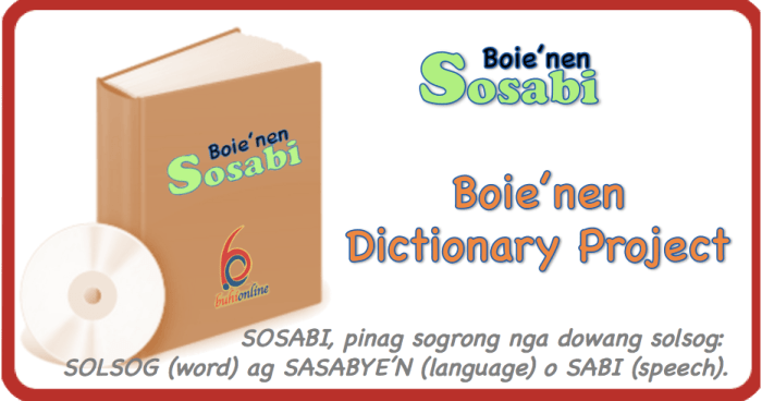 Sosabi, the Boie'nen Dictionary Project of Buhi.com
