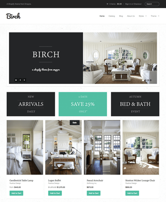 birch flat shopify theme