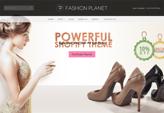 fashion planet flat shopify theme