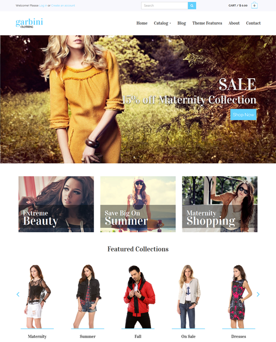 garbini flat shopify theme