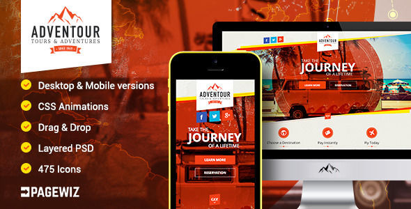 Adventour by Mylanko (landing page template for PageWiz)