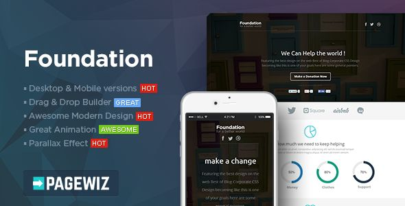 Foundation by PixFort (landing page template for PageWiz)