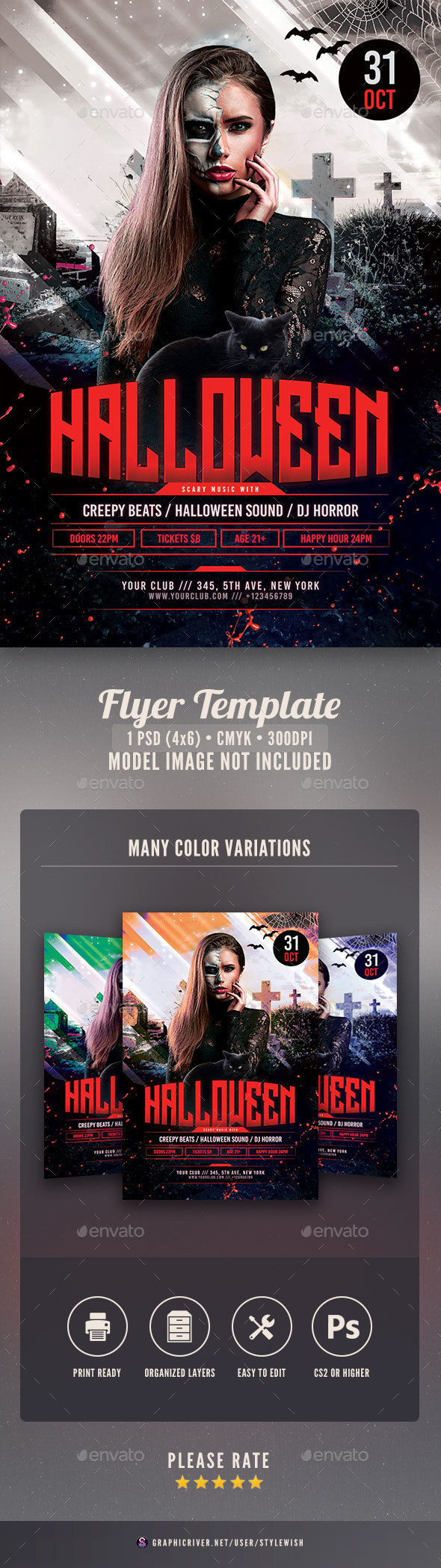 Halloween Flyer Template by StyleWish (Halloween party flyer)