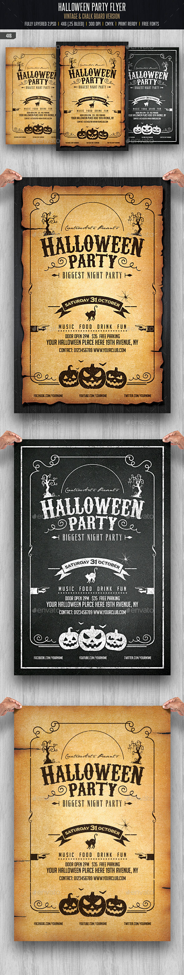 Halloween Party Flyer Template by Creativeartx (Halloween party flyer)