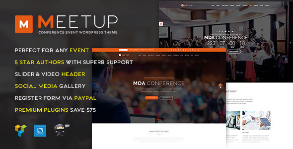 Meetup by Plazart (event & conference WordPress theme)