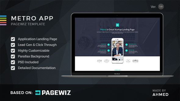 Metro App by Morad (landing page template for PageWiz)