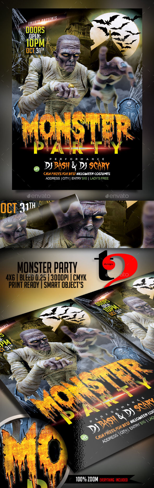 Monster Party by Take2Design (Halloween party flyer)