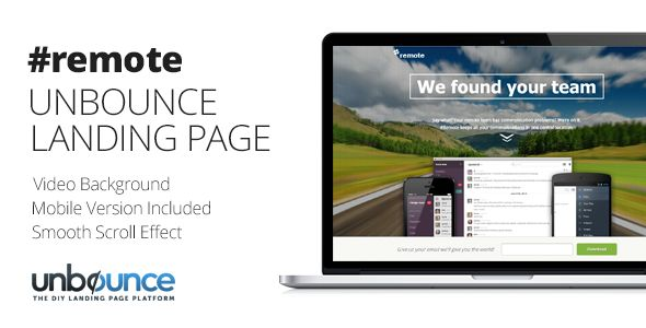 Remote by Themejive (landing page template for Unbounce.com)
