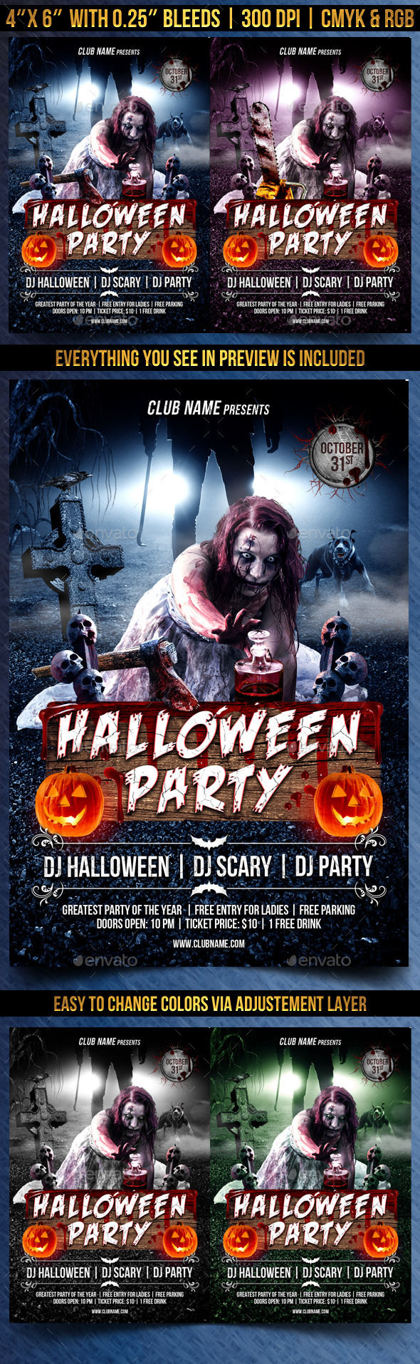 Scary Halloween Party Flyer by Gugulanul (Halloween party flyer)
