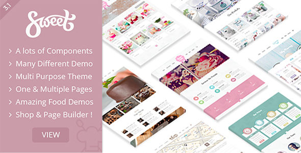 Sweet Cake by Nicdark (WordPress theme for bakeries, cafes and food retail stores)