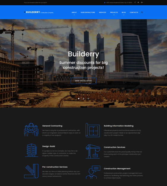 builderry construction companies building contractors wordpress themes