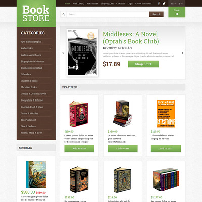 Book Shop OpenCart Template (OpenCart theme for book stores) Item Picture
