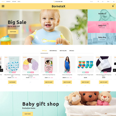 BorneteX (PrestaShop theme for clothing for babies, kids, and children) Item Picture
