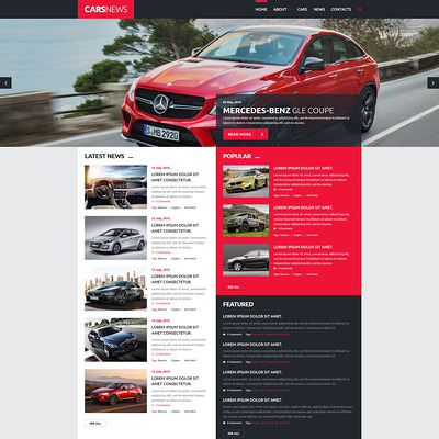 Cars News Joomla Template (Joomla template for car, vehicle, and automotive websites) Item Picture