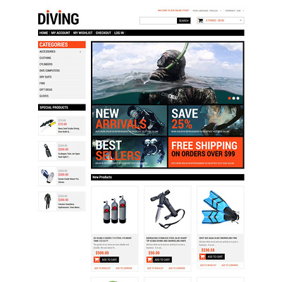 Diving Shop Magento Theme (Magento theme for marine, yachting, and diving stores) Item Picture