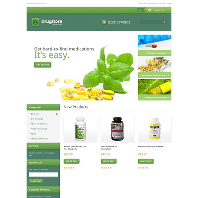 Drug Store Responsive Magento Theme (Magento theme for medical and health stores) Item Picture